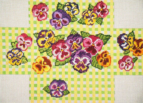 Brick Cover~Pansy Gingham handpainted Needlepoint Canvas~by Needle Crossings