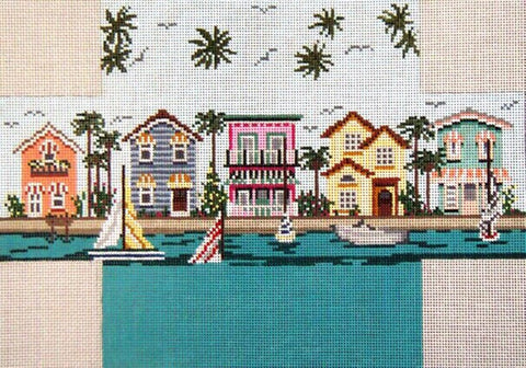 Brick Cover~Tropical Cottages handpainted Needlepoint Canvas~by Needle Crossings