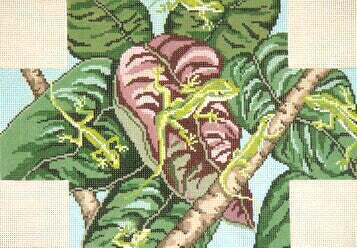 Brick Cover~Anoles handpainted Needlepoint Canvas~by Needle Crossings