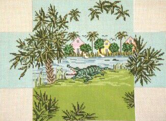 Brick Cover~Alligator Alley handpainted Needlepoint Canvas~by Needle Crossings