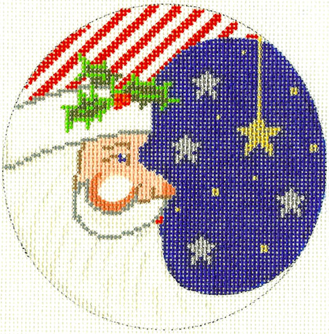 "Round~4.25"" Patriotic Santa handpainted Needlepoint Canvas~by Silver Needle"