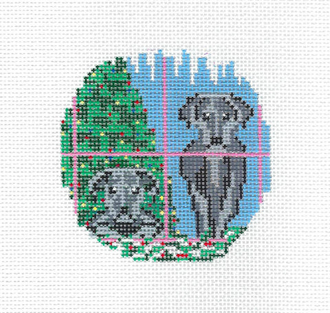"2 Black Lab Dogs 3"" Ornament handpainted Needlepoint Canvas Needle Crossings"