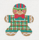Gingerbread Boy #2 Needlepoint Canvas Ornament and Stitch Guide by Danji Designs
