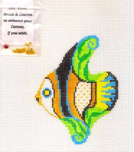 Tropical Fish handpainted Needlepoint Canvas Ornament & Beads Squiggee