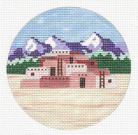 "Round~4"" Taos Pueblo New Mexico~ Destination round Handpainted Needlepoint Canvas~by Painted Pony Designs"
