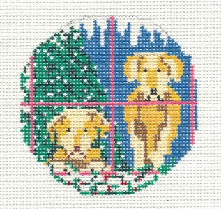 "Round~3"" Two Yellow Labs Ornament handpainted Needlepoint Canvas~by Needle Crossings"