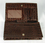 Accessory~Brown Alligator texture Leather Wallet with Snap for HP Needlepoint Canvas by Lee