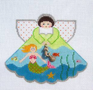 Angel-Mermaid Angel & Charms handpainted Needlepoint Ornament Canvas by Painted Pony