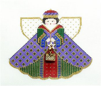Angel- GIFT OF GOLD QUEEN Angel & Charms handpainted Needlepoint Ornament Painted Pony