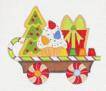Canvas~Gingerbread Holiday Train Car handpainted Needlepoint Canvas by Raymond Crawford *SPECIAL ORDER*