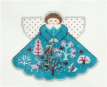 Angel-WINTER FOREST Angel & Charms handpainted Needlepoint Ornament by Painted Pony