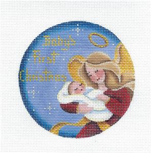 Round ~Angel Baby Boy's First Christmas handpainted Needlepoint Canvas Rebecca Wood~MAY NEED TO BE SPECIAL ORDERED