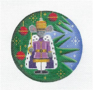 Round ~NUTCRACKER MOUSE KING Ornament handpainted Needlepoint Canvas by Rebecca Wood~MAY NEED TO BE SPECIAL ORDERED