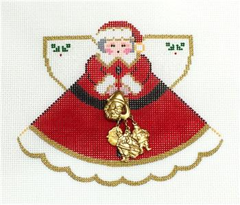 Angel-Christmas Angel in Santa Suit handpainted Needlepoint Ornament by Painted Pony