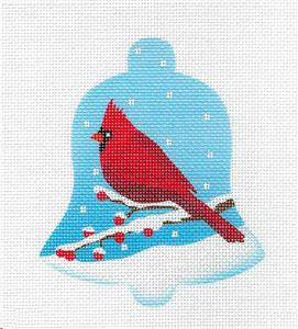 Bird Bell ~ Male Cardinal in Snow Bird Bell handpainted Needlepoint Ornament Canvas by Pepperberry