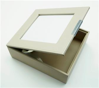 "Beige Display Box made of Premium Leather for a 5""x6"" Needlepoint Canvas by LEE"