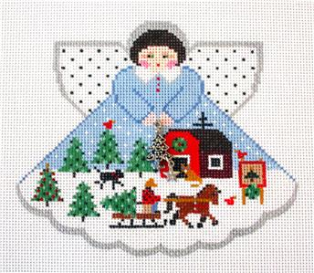 Angel-Christmas Tree Farm Angel & Charms & STITCH GUIDE Needlepoint Canvas Painted Pony *SPECIAL ORDER*
