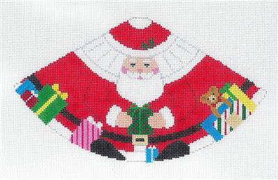Cone ~ SANTA CLAUS with GIFTS 3-D Cone HP Needlepoint Ornament Canvas by Susan Roberts