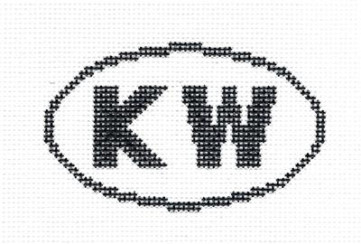 "Oval~""KW"" KEY WEST, FLORIDA SIGN Oval handpainted Needlepoint Canvas Silver Needle"