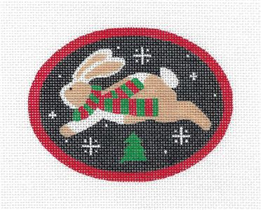 Oval~Jumping Bunny w/ Scarf & Tree handpainted Needlepoint Canvas by Pepperberry