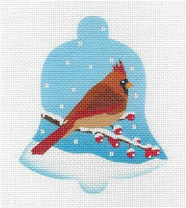 Bell~Bird Bell Female Cardinal in Snow HP Needlepoint Ornament Canvas by Pepperberry