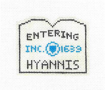 Canvas~HYANNIS, CAPE COD, MASS. SIGN Ornament HP Needlepoint Canvas by Silver Needle