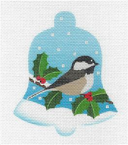 Bell~Bird Bell Chickadee in Snow & Holly HP Needlepoint Ornament Canvas Pepperberry