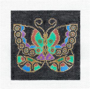 "Canvas ~ Oriental Butterfly 4.5"" handpainted Needlepoint Canvas Insert by JP Needlepoint"