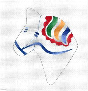 Canvas~DALA HORSE Portrait White Multi-Color HP Needlepoint Canvas Pepperberry Designs
