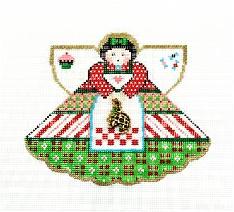 Angel- HOLIDAY BAKING Angel & Pie Charm handpainted Needlepoint Ornament Painted Pony