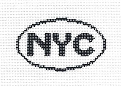"Oval~""NYC"" NEW YORK CITY, New York SIGN handpainted Needlepoint Canvas Silver Needle"