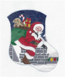 Stocking~Santa Up On The Rooftop Christmas Mini Stocking HP Needlepoint Canvas Danji