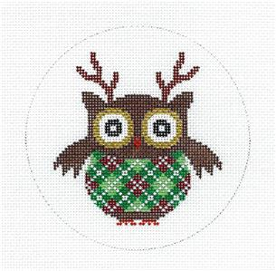 Round~Reindeer Owl in Argyle Sweater handpainted Needlepoint Canvas by JP Needlepoint