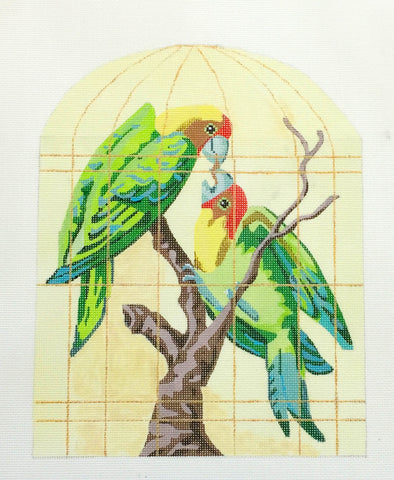 Canvas~Parrots in a Golden Cage handpainted Needlepoint Canvas~Labors of Love