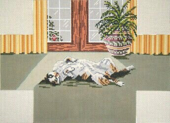 Brick Cover~Cat Lounging in the Sun handpainted Needlepoint Canvas~by Needle Crossings