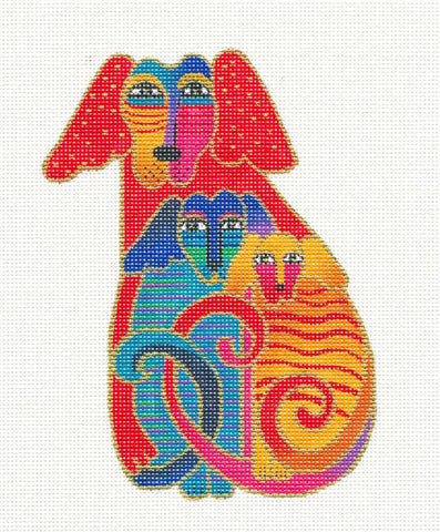 Laurel Burch Embracing Dogs Handpainted HP Needlepoint Canvas Danji Designs
