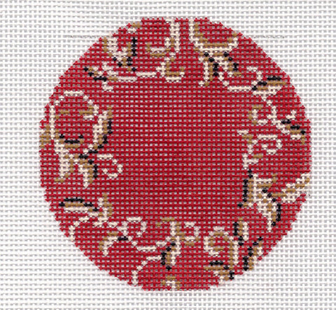 "Round~LEE for a Monogram ~ 3"" Rd. Deep Red Background handpainted Needlepoint Canvas"