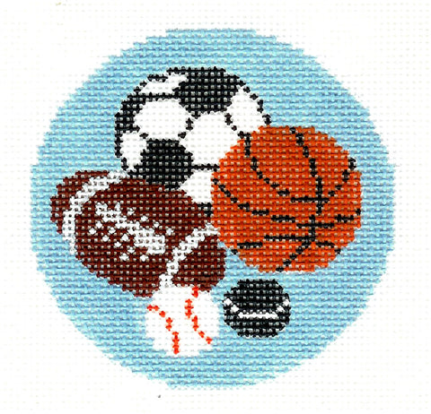 "Round~LEE Asst. Sports Balls handpainted Needlepoint Canvas 3"" Rd. Ornament or Insert"