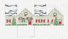 3D Ornament Christmas House handpainted Needlepoint Canvas~by Susan Roberts