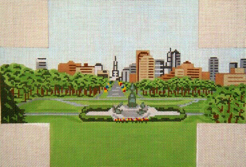 Brick Cover~Philadelphia City Hall & Skyline handpainted Needlepoint Canvas~by Needle Crossings