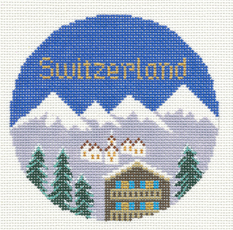 "Round~ Switzerland with the Swiss Alps handpainted 4.25"" Needlepoint Canvas by Silver Needle RD."