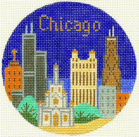 "Round~4.25"" Chicago Illinois handpainted Needlepoint Canvas~by Silver Needle"