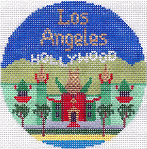 "Round~4.25"" Los Angeles, California handpainted Needlepoint Canvas~by Silver Needle"