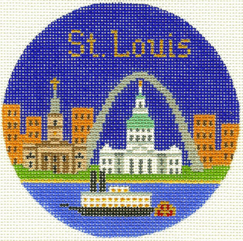"Round~4.25"" St. Louis Missouri handpainted Needlepoint Canvas~by Silver Needle"