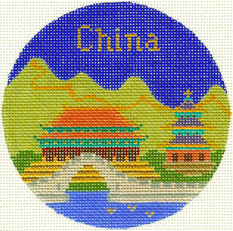 "Round~4.25"" China handpainted Needlepoint Canvas~by Silver Needle"
