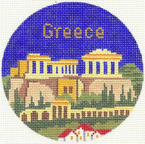 "Round~4.25"" Greece handpainted Needlepoint Canvas~by Silver Needle"