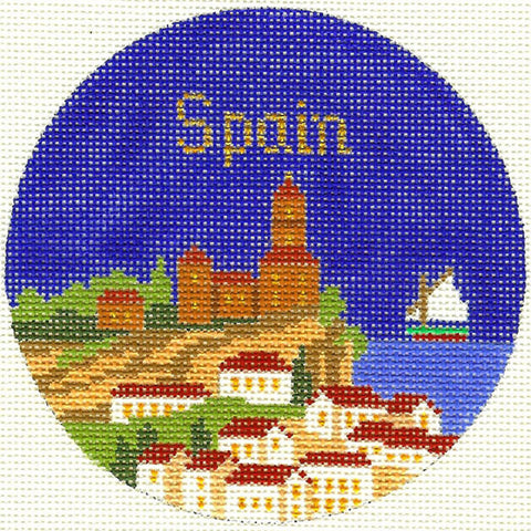"Round~4.25"" Spain handpainted Needlepoint Canvas~by Silver Needle"