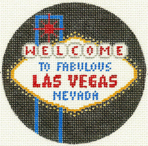 "Round~4.25"" Las Vegas Nevada handpainted Needlepoint Canvas~by Silver Needle"