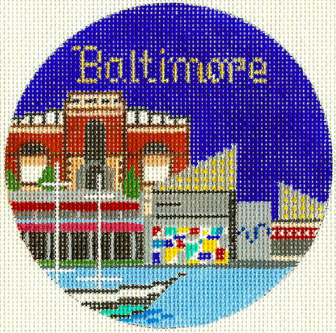 "Round~4.25"" Baltimore Maryland handpainted Needlepoint Canvas~by Silver Needle"