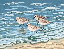 Canvas~Four Sanderlings in Surf handpainted Needlepoint Canvas~by Needle Crossings